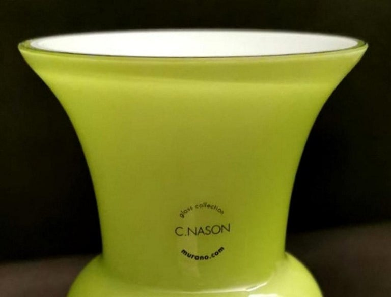 Carlo Nason Design Vase Blown and Jacketed Murano Glass In Good Condition In Prato, Tuscany