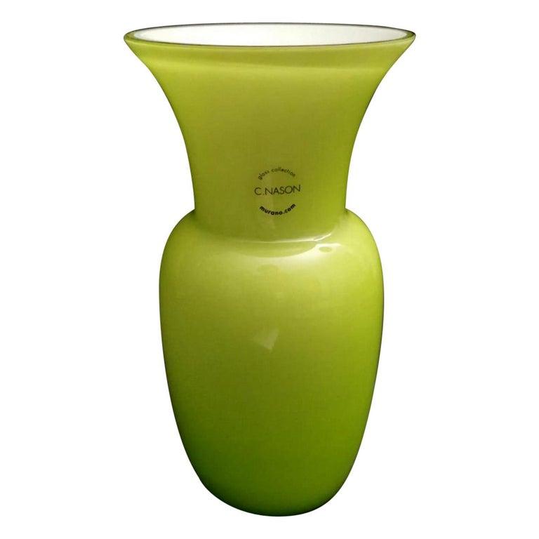 Carlo Nason Design Vase Blown and Jacketed Murano Glass