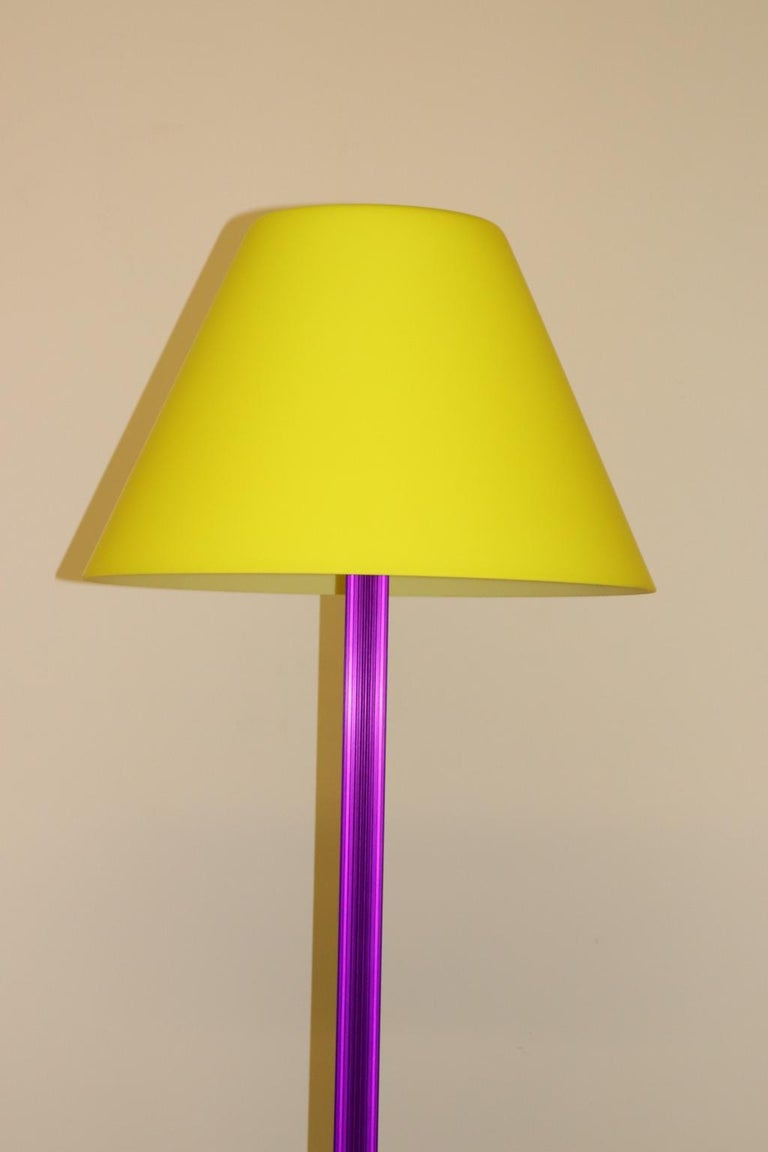 Italian Carlo Nason Floor Lamp Murano Lemon Yellow Glass Diffuser Fuchsia Anodized Stem For Sale