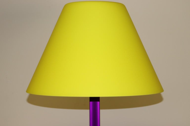 Carlo Nason Floor Lamp Murano Lemon Yellow Glass Diffuser Fuchsia Anodized Stem In Excellent Condition For Sale In Saddle Brook , NJ