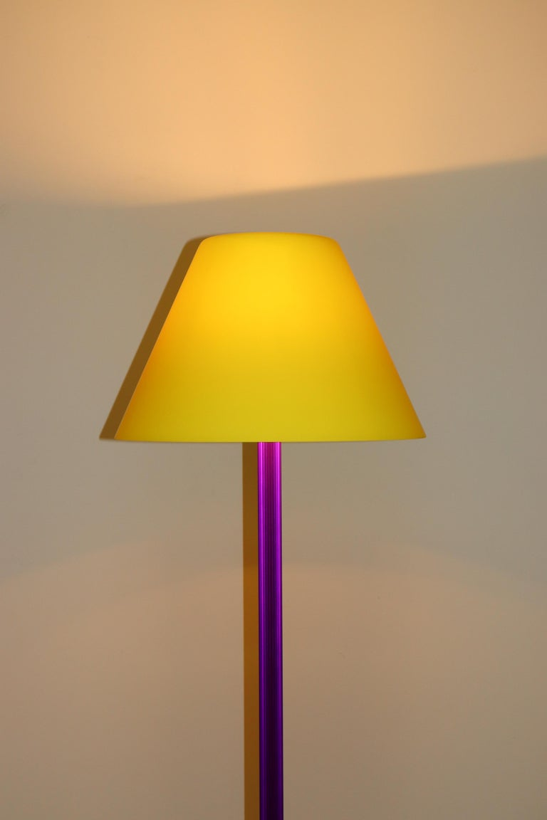 Carlo Nason Floor Lamp Murano Lemon Yellow Glass Diffuser Fuchsia Anodized Stem For Sale 1