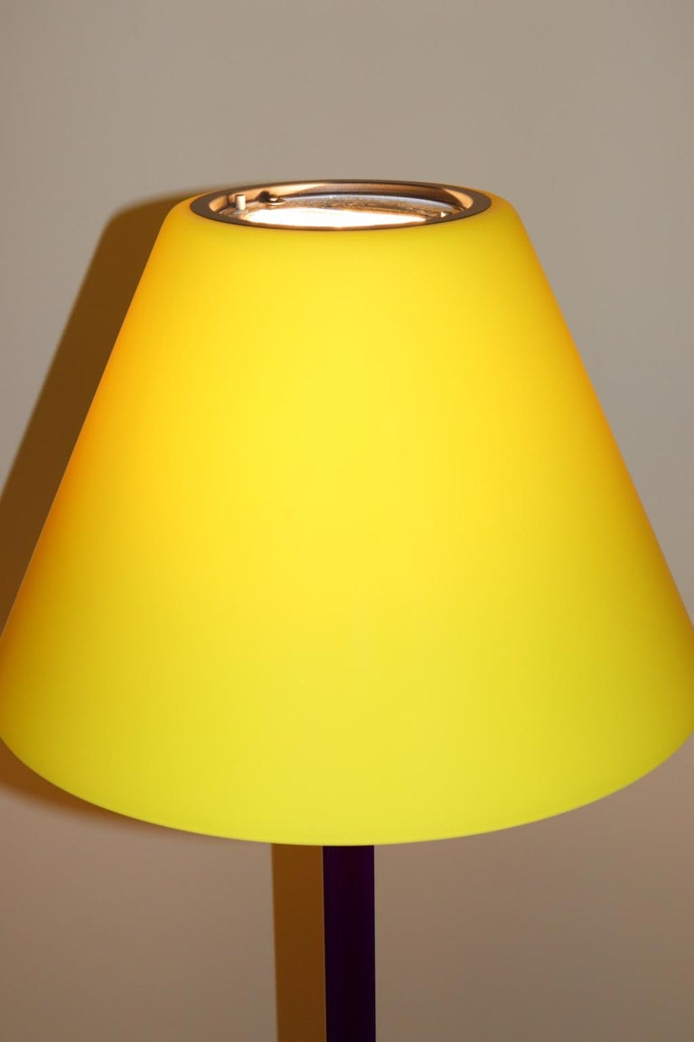 Carlo Nason Floor Lamp Murano Lemon Yellow Glass Diffuser Fuchsia Anodized Stem For Sale 2