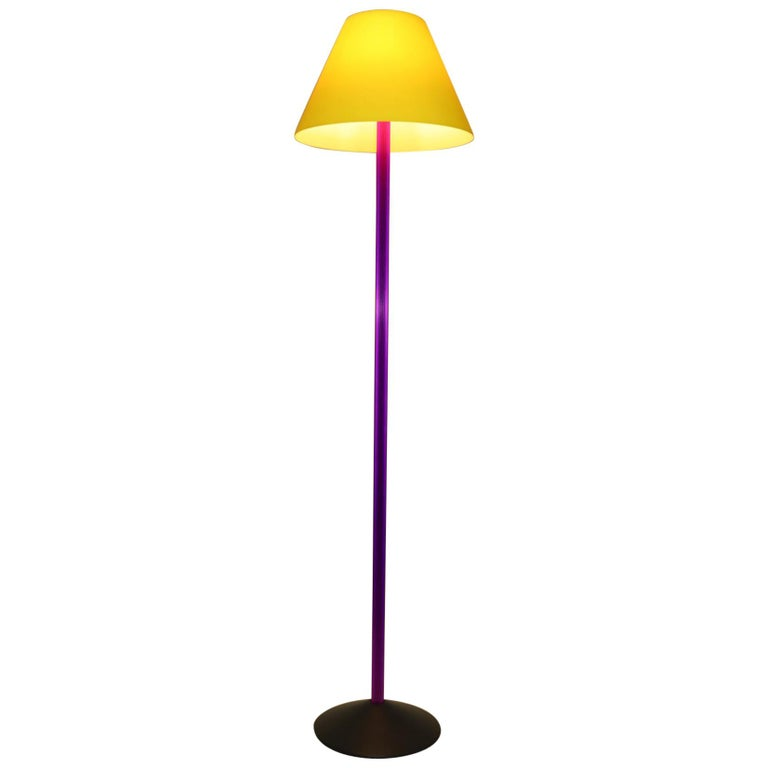 Carlo Nason Floor Lamp Murano Lemon Yellow Glass Diffuser Fuchsia Anodized Stem For Sale