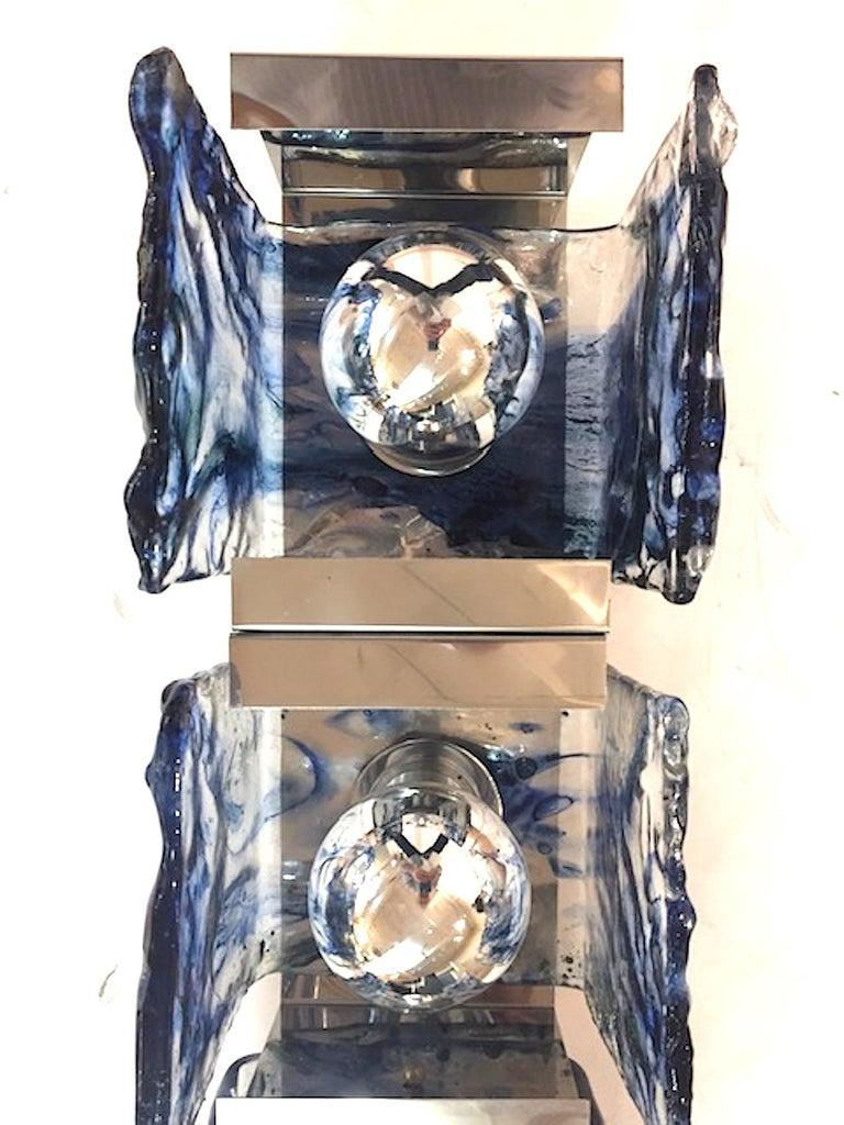 Murano Glass Carlo Nason for Mazzega 1970s Glass Sconces For Sale