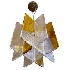 Carlo Nason for Mazzega of Italy Glass Panel Chandelier