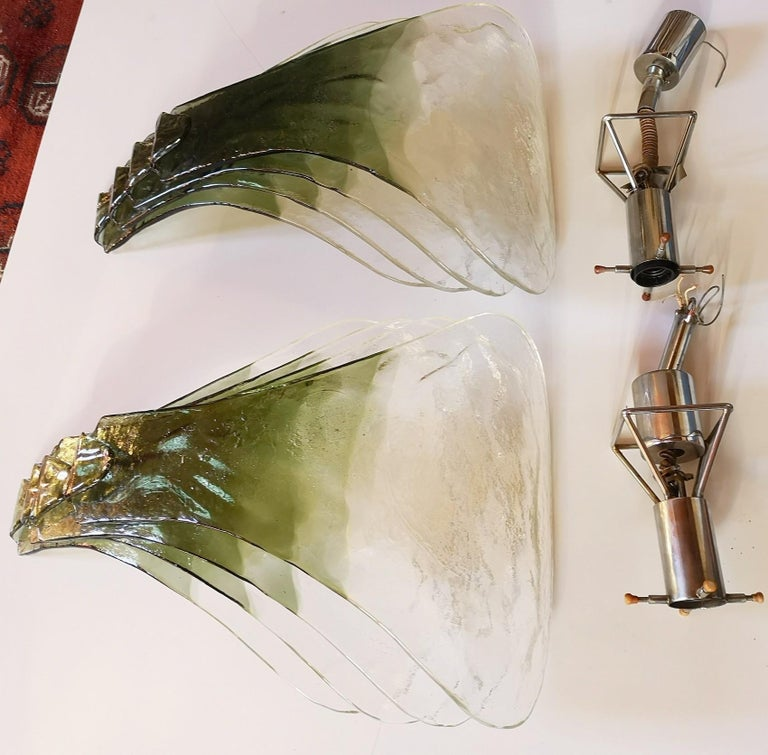 Carlo Nason for Mazzega Pair of Clover Suspension Green Clear Murano Glass 1970s For Sale 12