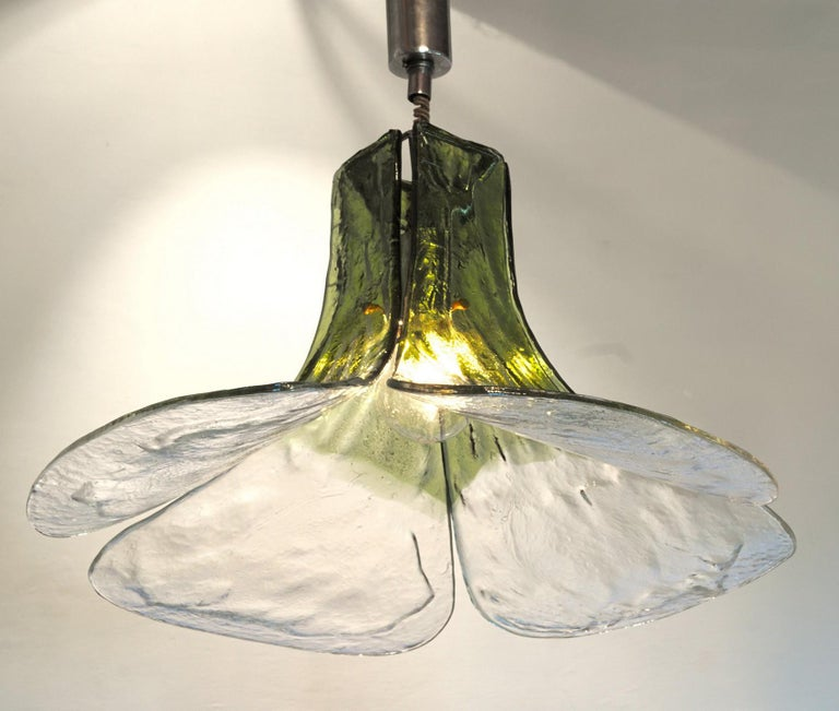 Carlo Nason for Mazzega Pair of Clover Suspension Green Clear Murano Glass 1970s For Sale 1
