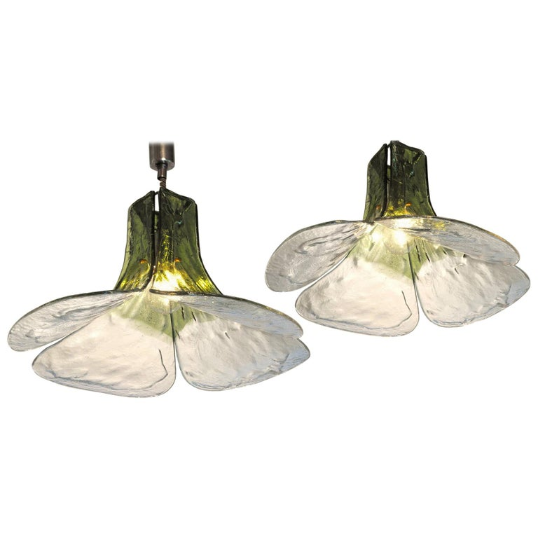 Carlo Nason for Mazzega Pair of Clover Suspension Green Clear Murano Glass 1970s For Sale