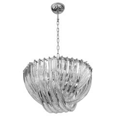 Carlo Nason Italian Minimalist Curved Crystal Murano Glass Chrome Chandelier