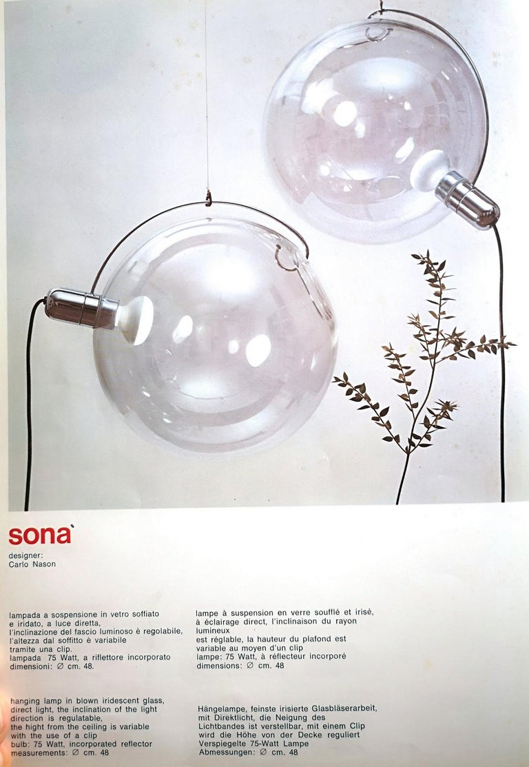 Carlo Nason Lumenform, Two Sona Lamps Iridescent Murano Glass Anticipates Modern 19