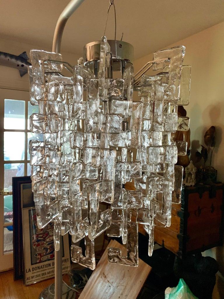 Carlo Nason Mazzega Murano glass chandelier Murano interlocking glass chandelier, with large clear squared
