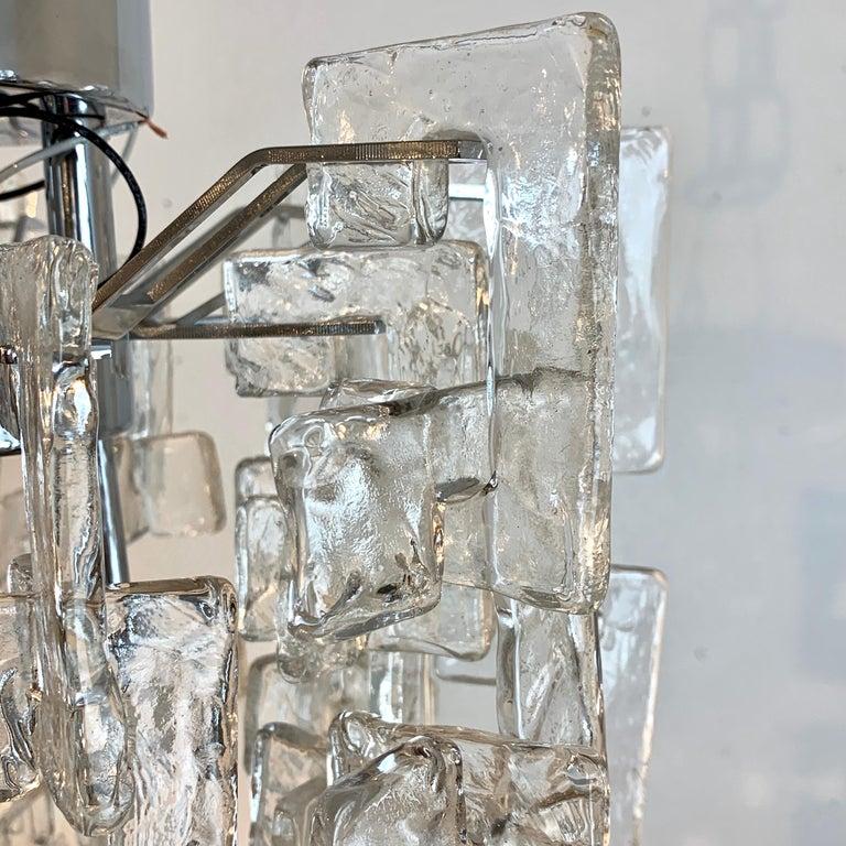 Metal Carlo Nason Mazzega Murano Glass Chandelier For Sale
