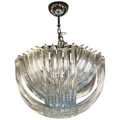 Carlo Nason Mid-Century Modern Crystal Curvati Murano Glass Chandelier, 1976