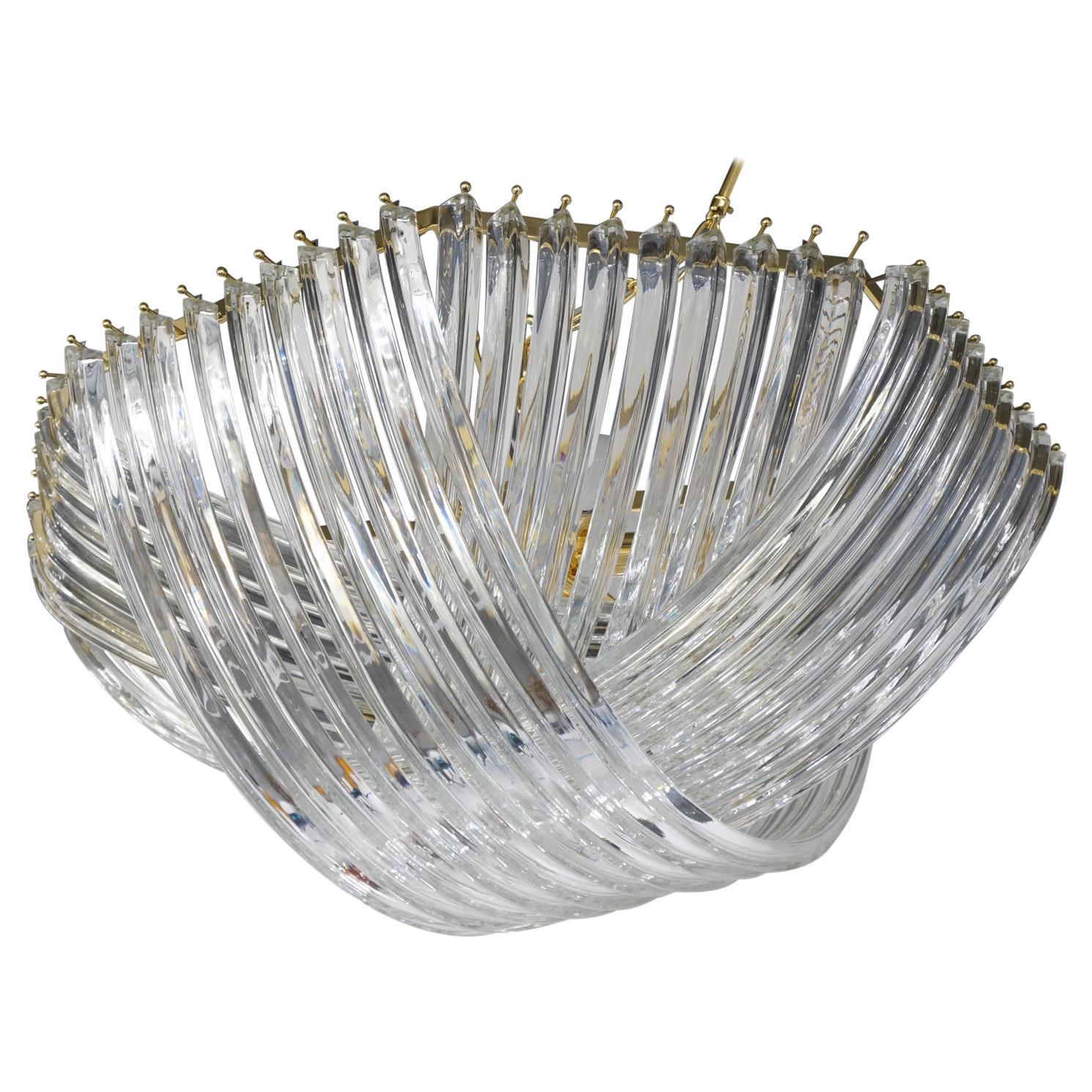 Carlo Nason Mid-Century Modern Crystal Curvati Murano Glass Chandelier, 1984