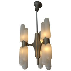 Carlo Nason Murano Glass and Aluminium Space Age Ceiling Lamp for Mazzega, 1960s