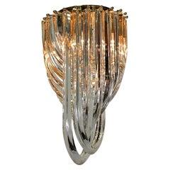 "Carlo Nason Murano Glass ""Curve"" Sparkling Chandeliers"