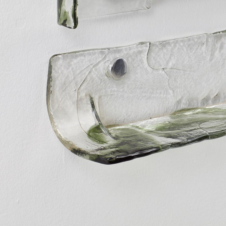 Mid-Century Modern Carlo Nason Murano Glass Mirror and Shelf for Mazzega, Italy, 1970s For Sale