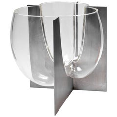 Carlo Nason Murano Glass Vase Set in Steel