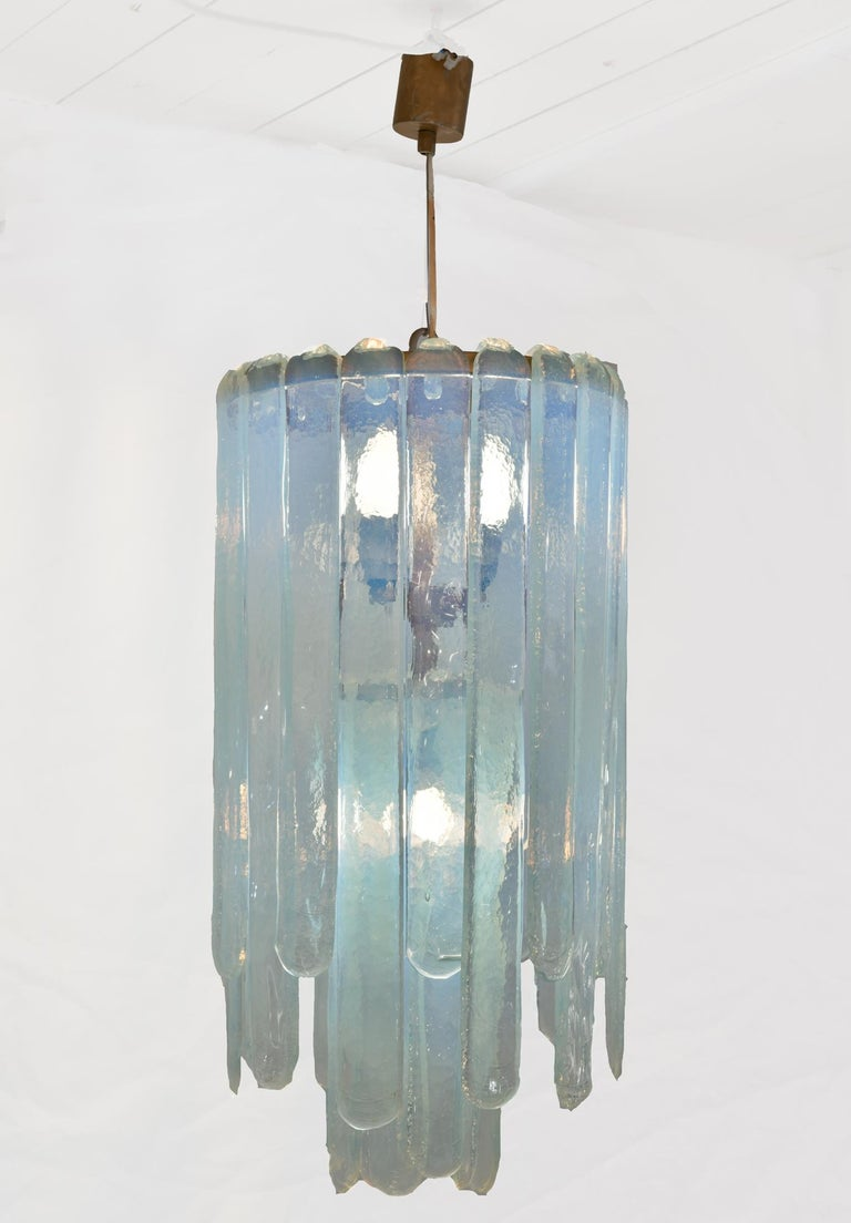 Mid-Century Modern Carlo Nason Opalescent Chandelier For Sale