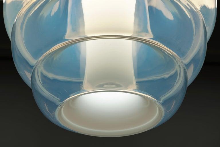 Metal Carlo Nason Opalescent Glass Pendant by Mazzega, Murano For Sale
