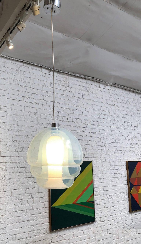 AV Mazzega light designed by Carlo Nason. Model LS 134 Takarmatur. Featuring four interlocking glass parts handblown into a single mold. 1969 Made in Italy.