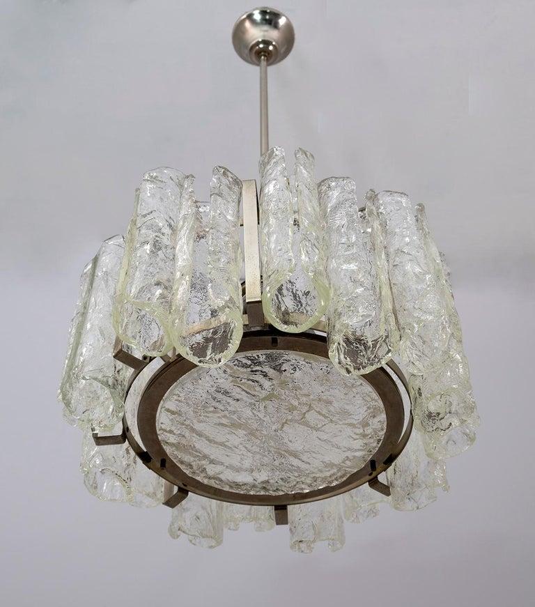 Steel Carlo Nason Postmodern Italian Murano Glass Chandelier for Mazzega, 1970s For Sale