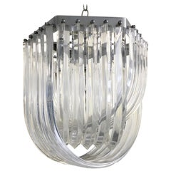 Carlo Nason Style Curved Clear Lucite Triedri Prism Chandelier, 1980