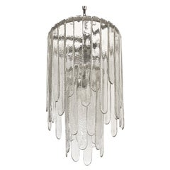 Carlo Nason Two-Tier Cascade Ice Glass Chandelier