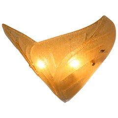 Carlo Nason Wall Lamp Murano Hand Cast Glass Amber Rugiada