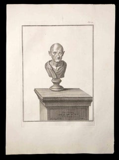 Ancient Roman Bust - Original Etching by Carlo Nolli - 18th century