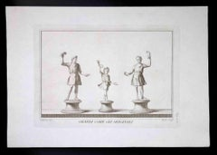 Ancient Roman Statues with Grails - Original Etching by C. Nolli - 18th century