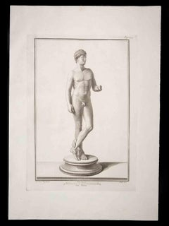 Hermes in Ancient Roman Statue - Original Etching by Carlo Nolli - 18th Century