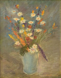 Still life with Flowers - Original Oil on Canvas by C. Quaglia -Mid 20th Century