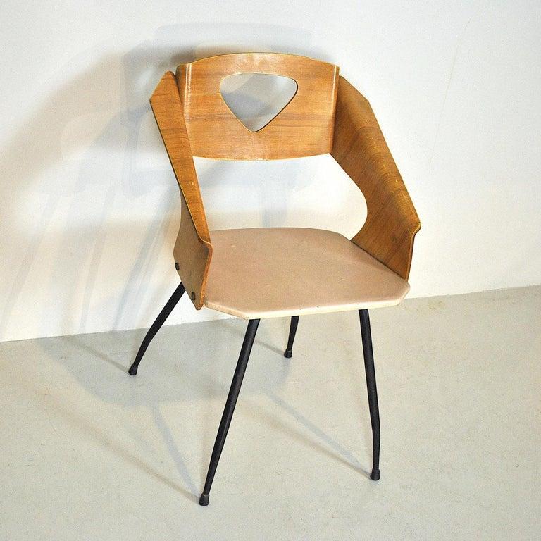Mid-Century Modern Carlo Ratti Italian Midcentury Chair in Curved Wood