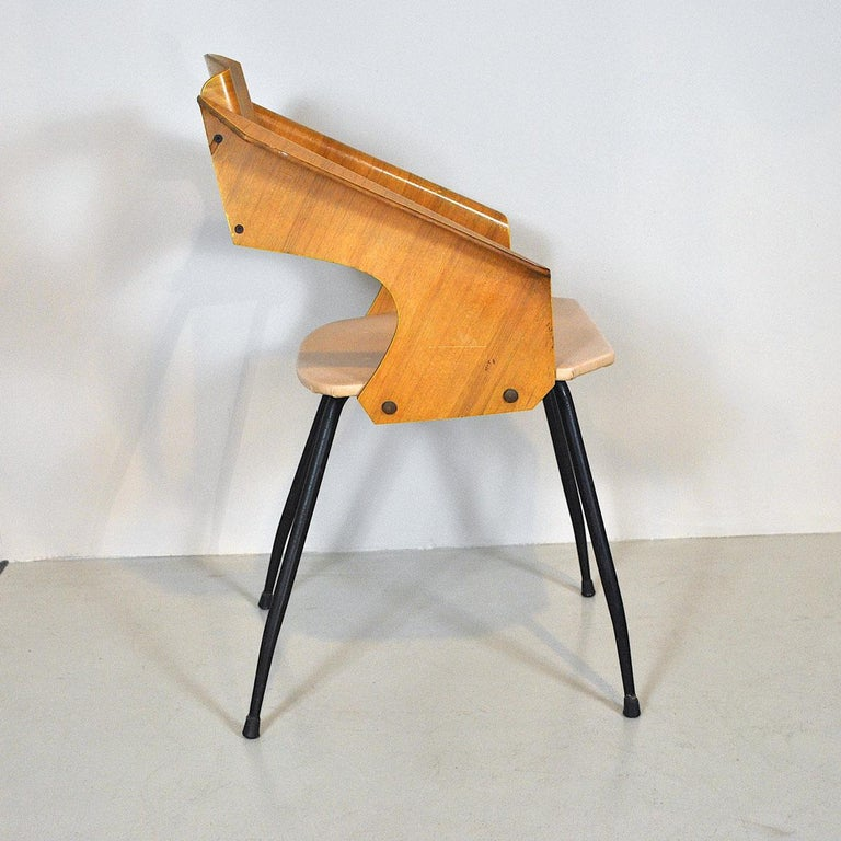 Carlo Ratti Italian Midcentury Chair in Curved Wood In Good Condition In bari, IT