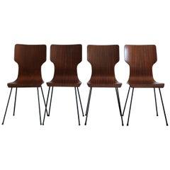 Carlo Ratti Italian Mid-Century Modern Design Wood Metal Dining Chairs, 1950s