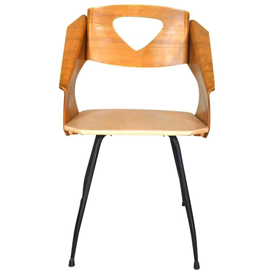 Carlo Ratti Italian Midcentury Chair in Curved Wood