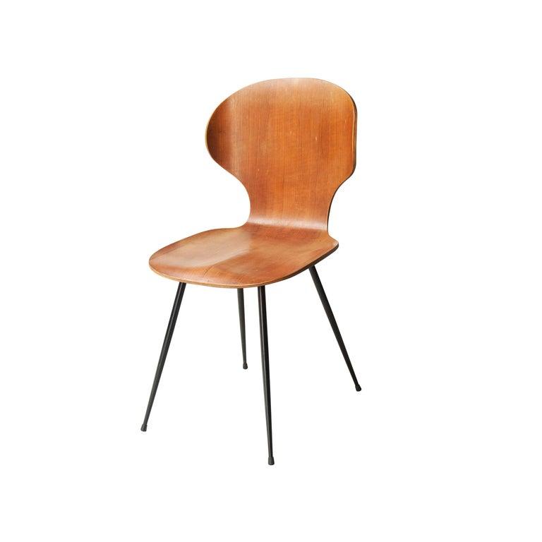 Mid-Century Modern Carlo Ratti Midcentury Teak Metal Black Italian Set of 6 Chairs, Italy, 1950 For Sale