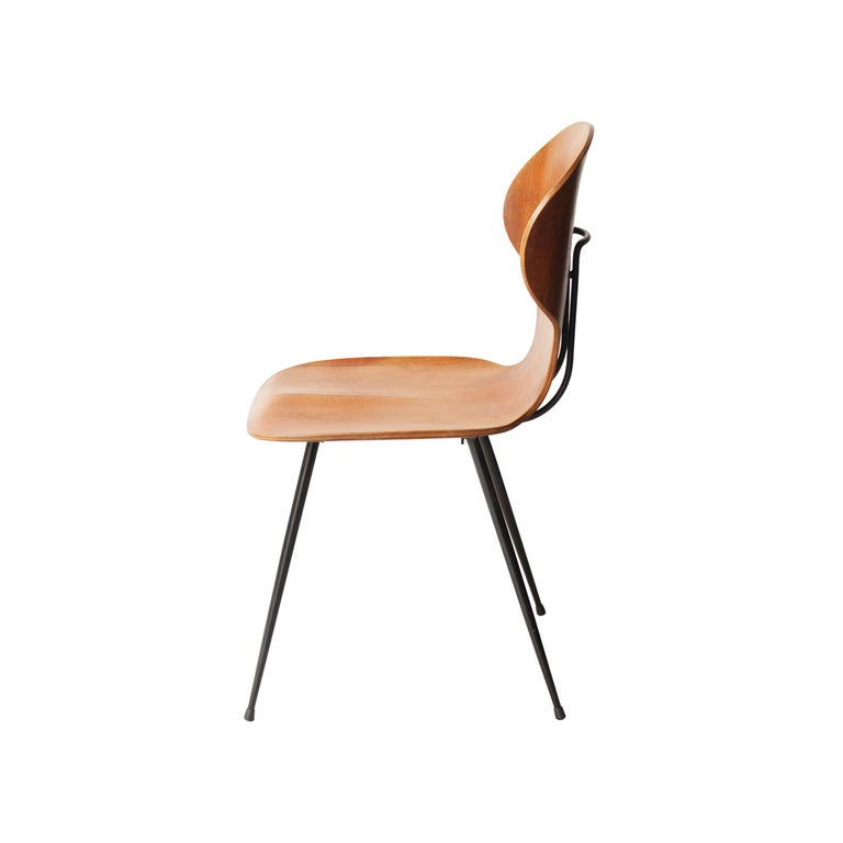 Lacquered Carlo Ratti Midcentury Teak Metal Black Italian Set of 6 Chairs, Italy, 1950 For Sale
