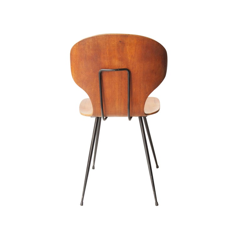 Carlo Ratti Midcentury Teak Metal Black Italian Set of 6 Chairs, Italy, 1950 In Good Condition For Sale In Madrid, ES