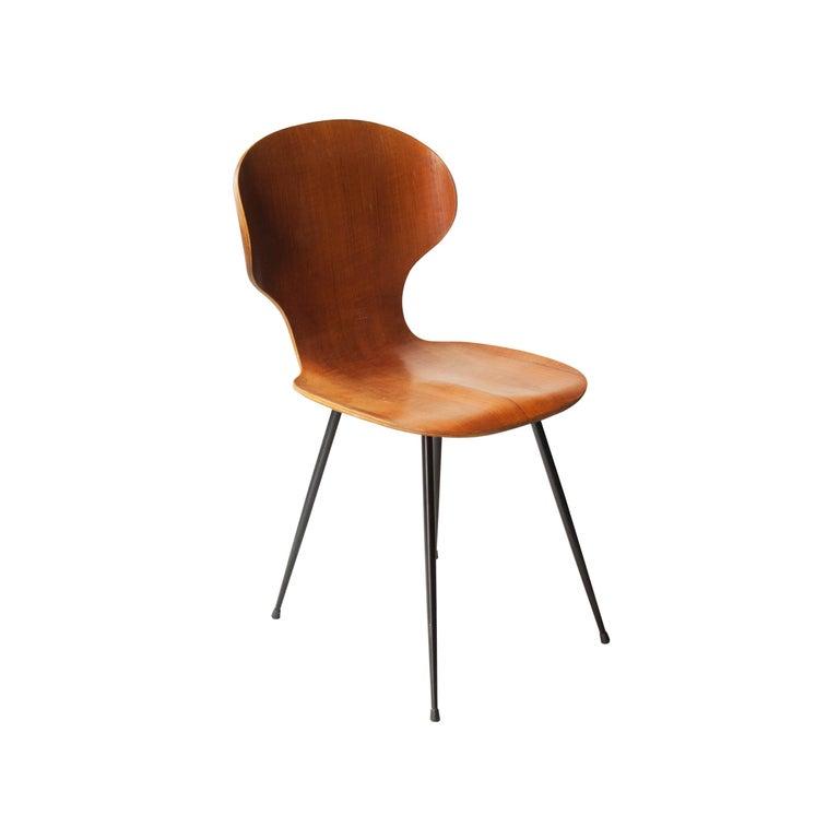 Mid-20th Century Carlo Ratti Midcentury Teak Metal Black Italian Set of 6 Chairs, Italy, 1950 For Sale
