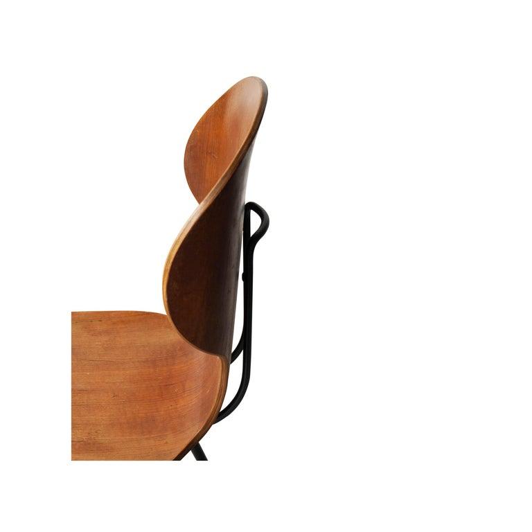 Carlo Ratti Midcentury Teak Metal Black Italian Set of 6 Chairs, Italy, 1950 For Sale 1