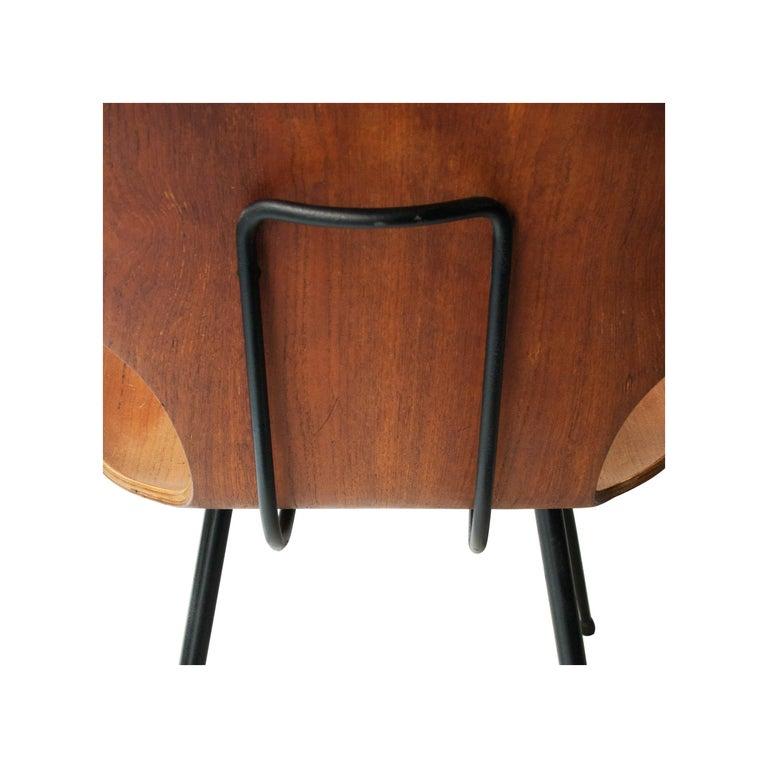 Carlo Ratti Midcentury Teak Metal Black Italian Set of 6 Chairs, Italy, 1950 For Sale 2