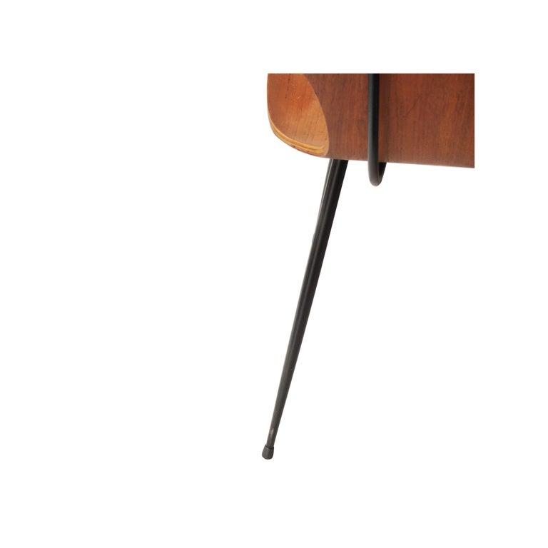 Carlo Ratti Midcentury Teak Metal Black Italian Set of 6 Chairs, Italy, 1950 For Sale 3