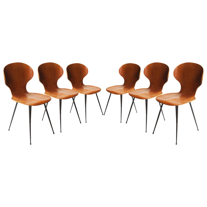 Carlo Ratti Midcentury Teak Metal Black Italian Set of 6 Chairs, Italy, 1950