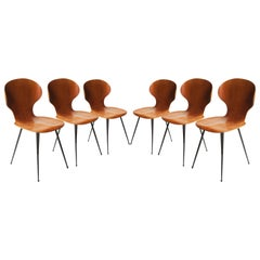 Carlo Ratti Midcentury Teak Metal Black Italian Set of 6 Chairs, Italy, 1950