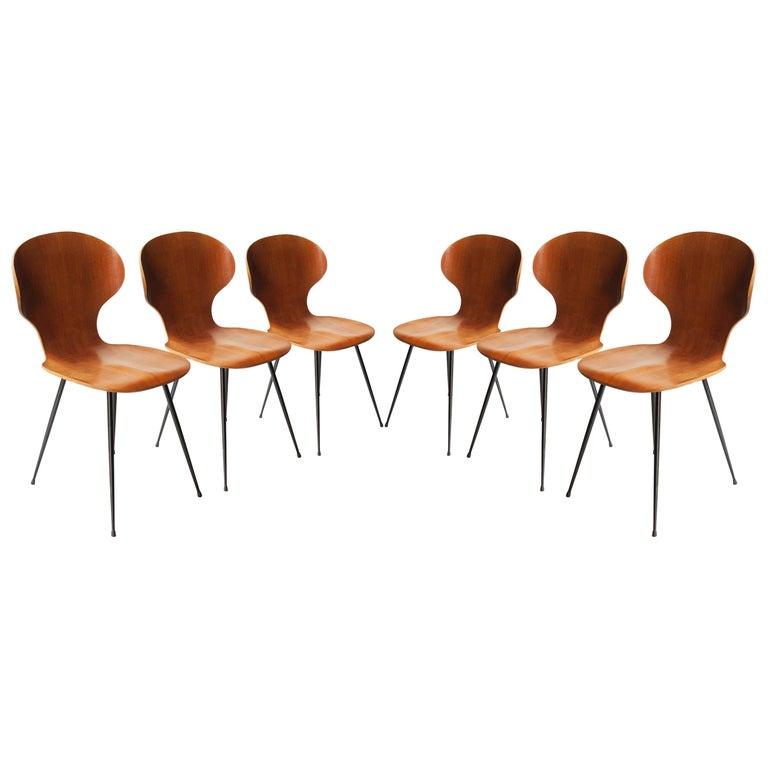 Carlo Ratti Midcentury Teak Metal Black Italian Set of 6 Chairs, Italy, 1950 For Sale