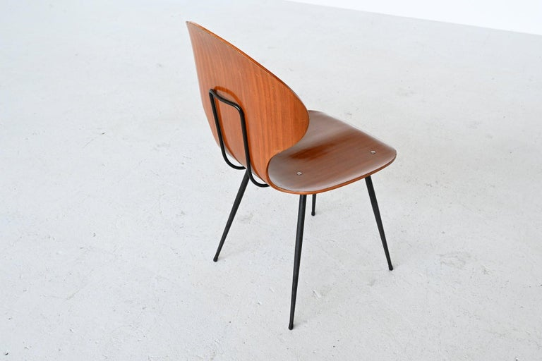Carlo Ratti Plywood Teak Dining Chairs Lissoni, Italy, 1950 For Sale 4