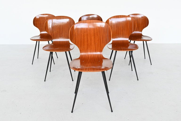 Mid-Century Modern Carlo Ratti Plywood Teak Dining Chairs Lissoni, Italy, 1950 For Sale
