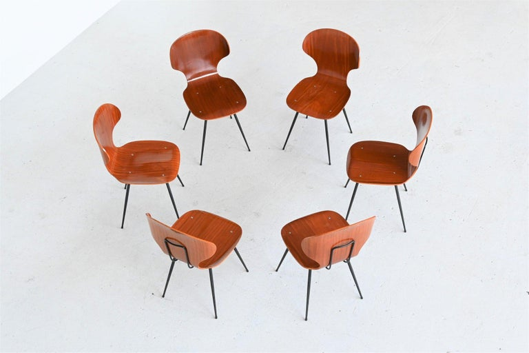 Carlo Ratti Plywood Teak Dining Chairs Lissoni, Italy, 1950 In Good Condition For Sale In Etten-Leur, NL